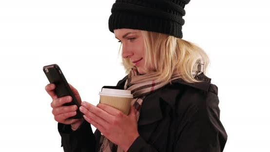 Thumbnail for Casual white woman communicating via text on mobile device on white copy space