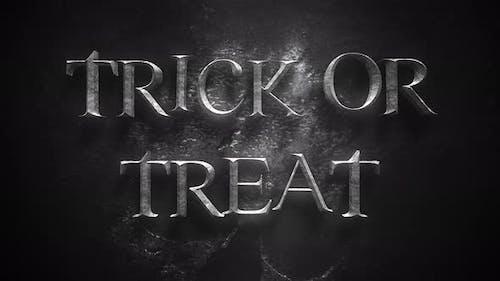 Animationstext Trick oder Treat auf mystischen Horrorhintergrund mit dunklem Schädel