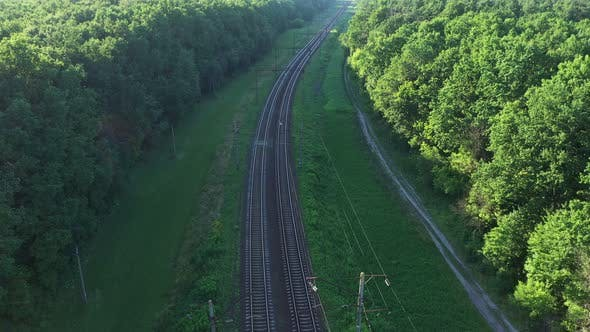 Aerial View Railroad In The Forest