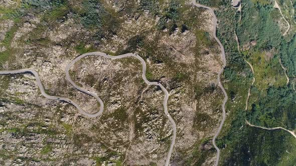 Aerial Footage of Road Design on Top of Mountain