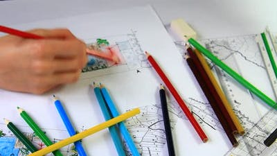 Crayons and New Plan of a Home