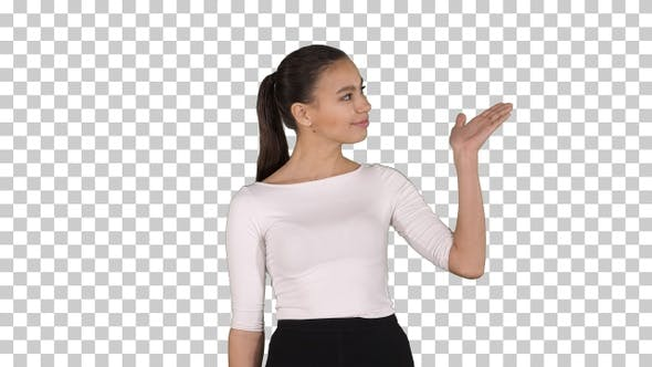 Thumbnail for Business woman presenter talking and showing product