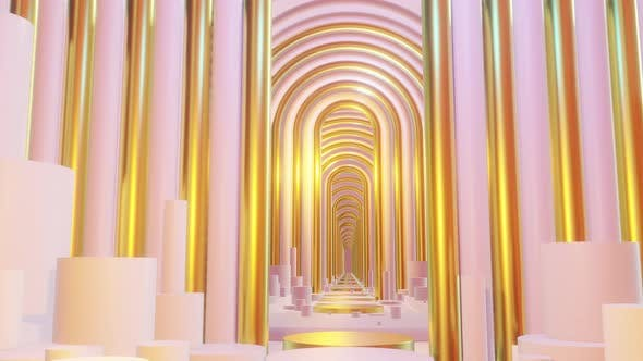 Thumbnail for Abstract Scene Pastel Color With Geometry Tunnel 03 4K
