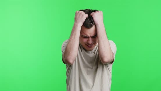 Thumbnail for Desperate Guy with Problems Pulling His Hair Out