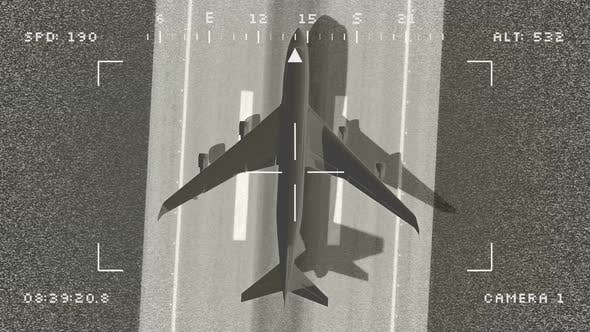 Cover Image for Military Drone Following Civil Airplane Taking Off