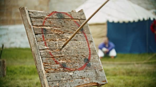 Thumbnail for A Person Throwing a Spear in the Wooden Target - Gets in the Circle Area