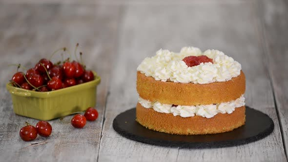 Thumbnail for Woman Making The Naked Cherry Cake With Vanilla Cream.