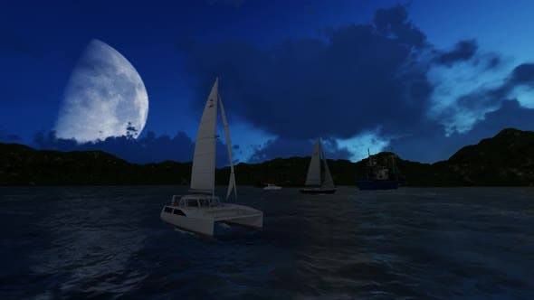 Thumbnail for The sailing ship is sailing at night