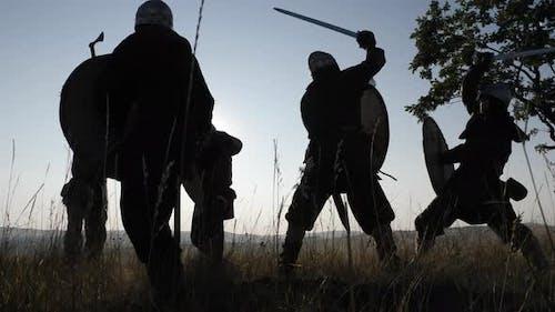 Wikinger kämpfen in einem Kampf