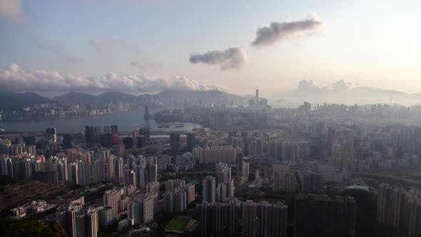 Thumbnail for Cityscape Hong Kong Districts at Blue Harbor Against Hills