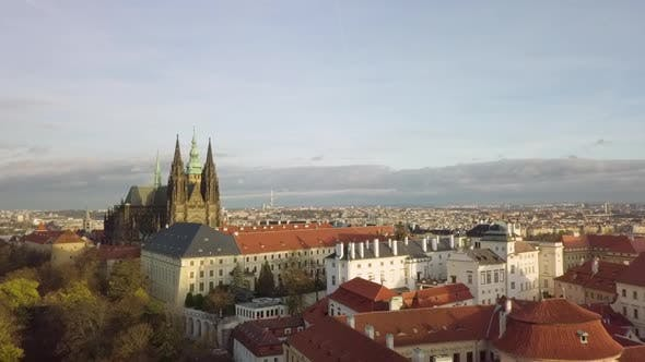 Thumbnail for Prague Castle Hdradcany with Vitus Cathedral Aerial Drone Shot, Czech Republic