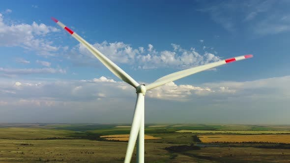 Wind Turbines in a Field Against the Sky