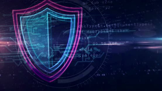 Shield cyber security symbol abstract loopable tunnel animation