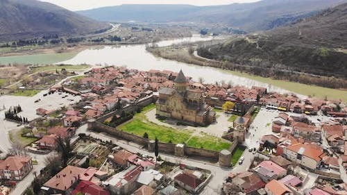 Aerial Approaching Mtskheta Cathedral