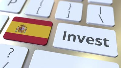 INVEST Text and Flag of Spain on the Keyboard