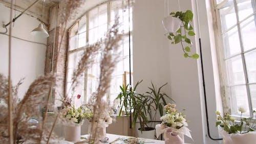 Gemütliches Interieur der Floristischen Werkstatt