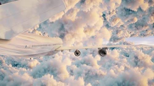 Airplane Fyling Between Puffy Clouds Sunlight Seamless Loop