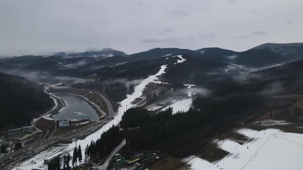 Carpathians In Winter From A Bird's Eye View