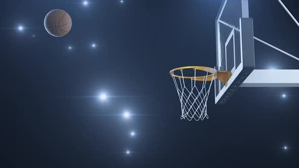 Basketball Hit the Basket in Slow Motion on the Background of Flashes of Cameras