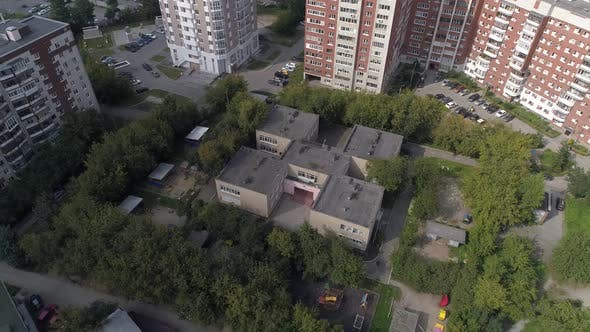 Aerial view of empty preschool building in city 09