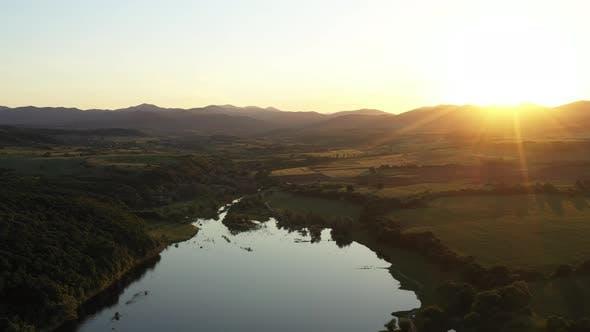 Flight Over The Trakiets Dam At Sunset 5