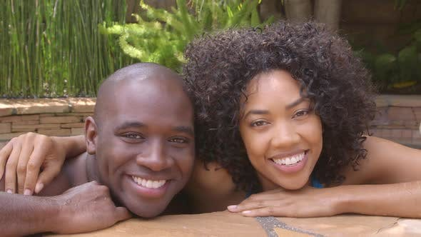 Thumbnail for Closeup portrait of African American couple by spa