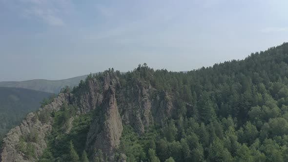 Aerial View of Rocks and Forest in the Siberian Nature Reserve Stolby.