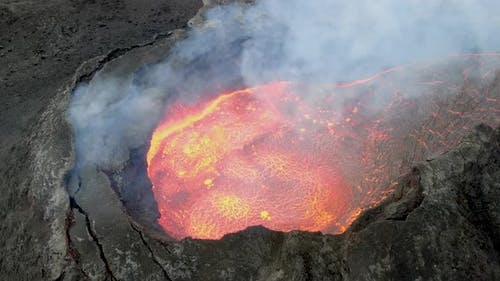 Close-up aerial view of erupting volcano (Fagradalsfjall) in Iceland