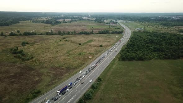 Thumbnail for Drone Point of View - Aerial View of Freeway Busy Rush Hour Heavy Traffic Jam Highway