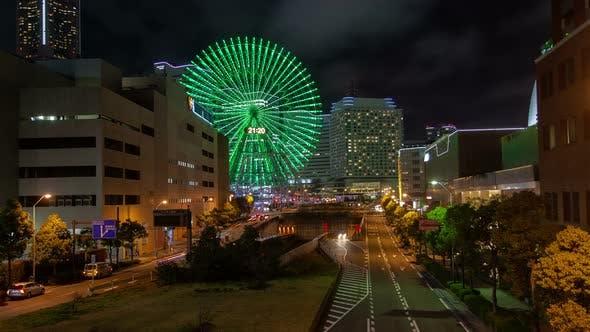 Night Road Car Traffic Tokyo District Ferris Wheel