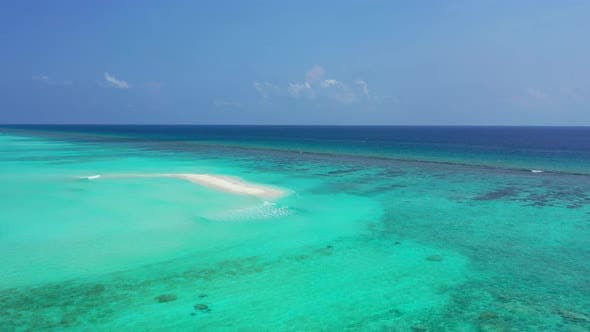 Thumbnail for Wide above copy space shot of a paradise sunny white sand beach and aqua turquoise water background