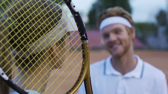 Thumbnail for Female Tennis Player Talking With Man At Tennis Court, Man Flirting With Woman