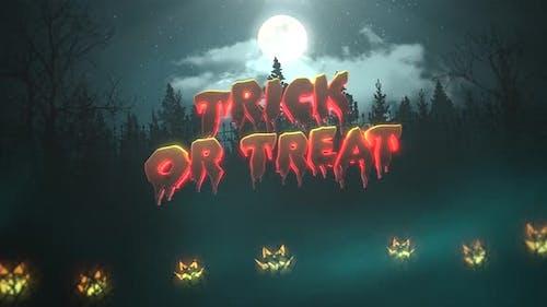 Animation Text Trick oder Treat auf Halloween Hintergrundanimation mit dem Wald und Kürbisse