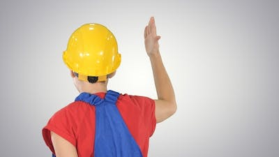 Workers rally Woman worker doing expresive gestures delivering
