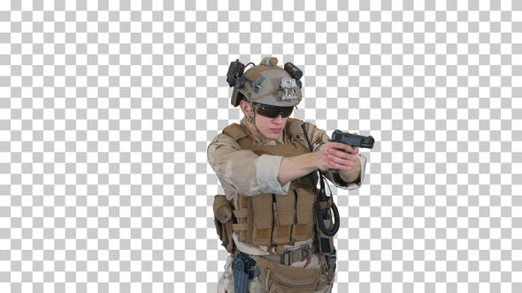 Thumbnail for Army man pointing gun in multiple directions, Alpha Channel