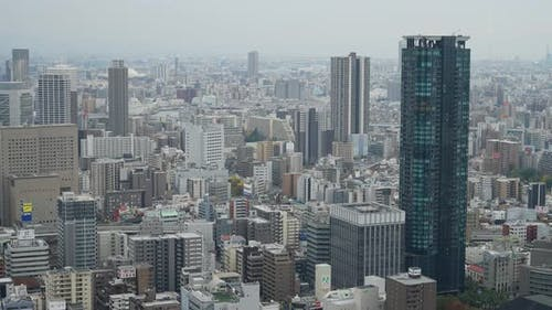 Time lapse of Building in Osaka skyline city in Japan