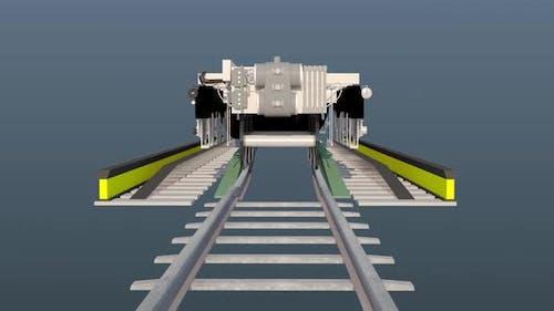Train bogie contraction, 3D Graphics animation video.