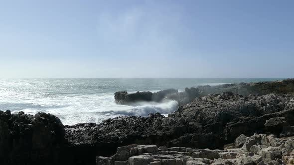 Cover Image for Waves smashing to the rocky coast of Sintra-Cascais Natural Park