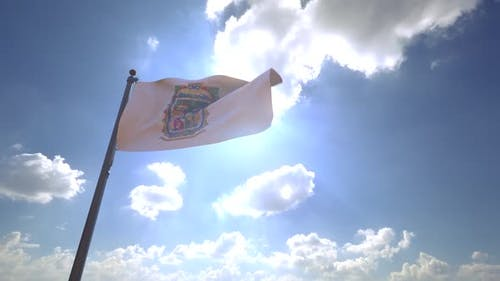 Puebla Flag on a Flagpole V4