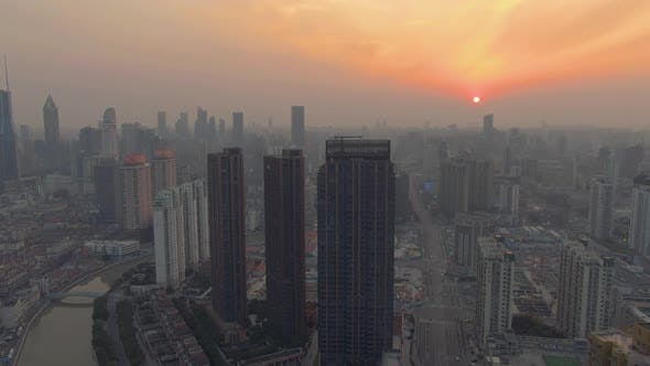 Thumbnail for Shanghai Cityscape at Sunset. Residential Neighborhood. China. Aerial View