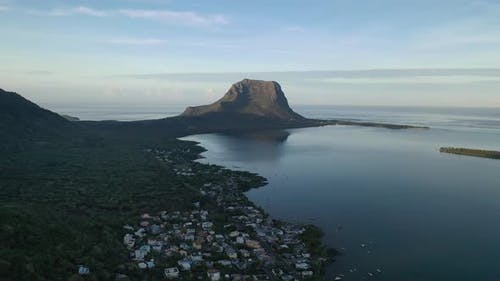 Beautiful Bird'seye View of Mount Le Morne Brabant and the Waves of the Indian Ocean in Mauritius