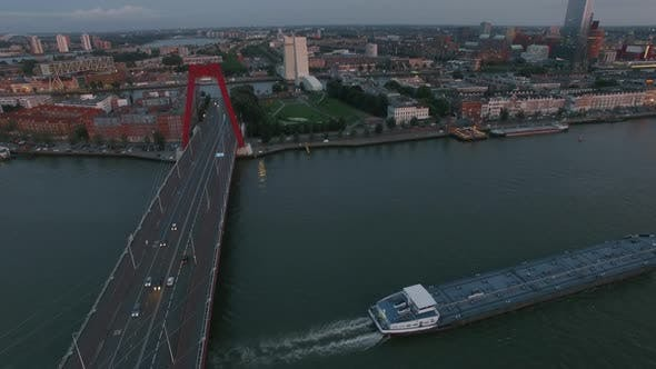 Thumbnail for Aerial Waterside View of Rotterdam with Willem Bridge