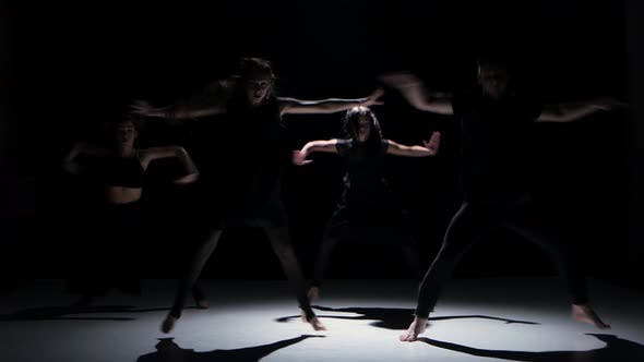 Thumbnail for Contemporary Dance Performance of Four Dancers on Black, Shadow