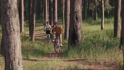 Happy Family Cycling In Woods