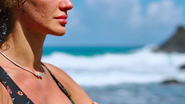 Thumbnail for Brunette Tourist Woman Meditating in Lotus Position on Promontory Above