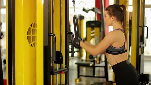 Thumbnail for Self-Confident Sportive Woman With Ideal Slim Body Doing Pulldown Exercise