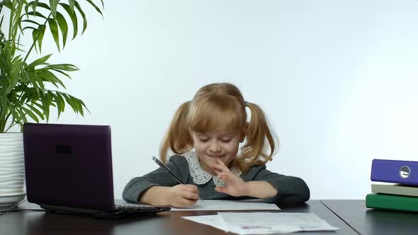 Thumbnail for Online Learning, Distance Education, Lesson at Home, Girl Doing School Program Online on Computer
