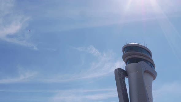 Aviation Festival Parachute And Airport Tower