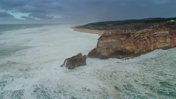 Thumbnail for Lighthouse on Cliff with Fortress in Nazare