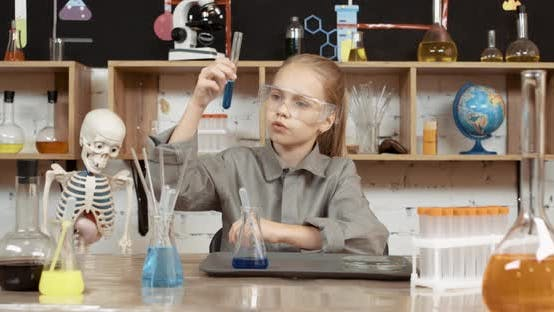Laboratory Experience in a Chemistry Lesson, the Girl Looks at the Flask of Liquid, Modern Education